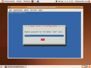 mysql-server root jelszavának ismételt megadása